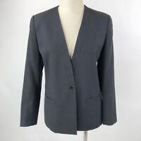 Sasson Women's Size 6 Collarless Blazer Black Single Button Lined Career Work