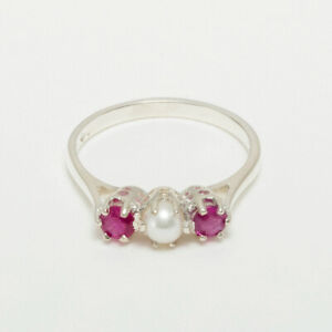 925 Sterling Silver Full Pearl Ruby Womens Trilogy Ring - Sizes J to Z