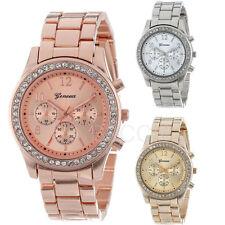 Women's Bracelet Watch Golden Stainless Steel Quartz Analog Crystal Wrist Watch