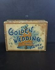 Vintage Early 1900's Golden Wedding Square Corner Tobacco Tin 4oz