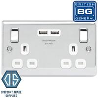 BG Nexus Double Socket with 2 USB Ports in Polished Chrome White Insert NPC22U3W