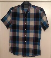 TOPMAN Checked Shortsleeve Shirt With Pocket Size Small