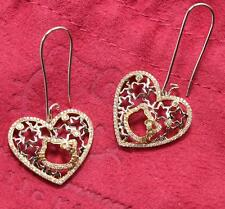 RARE SANRIO KIMORA LEE SIMMONS HELLO KITTY 18K GOLD DIAMOND HEART LOVE EARRINGS