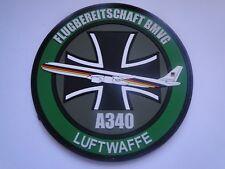 PVC-Aufnäher der Luftwaffe  Flugbereitschaft BMVG A340 ca  10 cm mit  Klett
