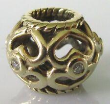 Pandora Gold Charm - Pandora 14ct Gold Open Hearts Diamond Charm