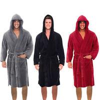 Plus Men Winter Lengthened Shawl Bathrobe Home Clothes Long Sleeved Robe Coat US