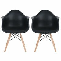 Lot de 2 fauteuils de salle à manger Inspire Retro Chaise en bois de hêtre Noir
