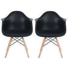 Lot de 2 fauteuils de salle à manger Inspire DAW Chaise en bois de hêtre Noir