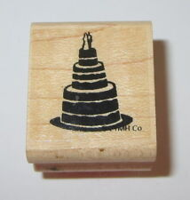 Wedding Cake Rubber Stamp Bride Groom on Top Close To My Heart Wood Mounted