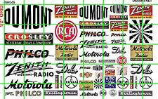NH046 DAVE'S DECAL 1/2 Set N SCALE MIXED SIGNAGE RADIO AND TV BRANDS ADVERTISING