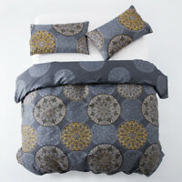 Duvet Cover Set Single Double King Size Quilt With Pillow Cases Grey Bedding Set
