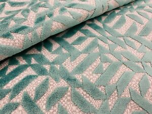Designers Guild Geometric Cut Velvet Fabric- Dufrene / Aqua 2.30 yd FDG2788/10