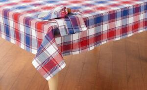 """Patriotic Decor 4th of July Tablecloth 60""""x 84"""" OVAL Red White Blue Plaid"""