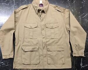 VTG GUNG HO L/S BUTTON UP SAFARI SHIRT JACKET Khaki Twill L Military EPAULETS