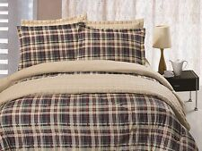 6 pc Comforter & Quilt Set Reversible Red Navy & Beige Plaid Queen King