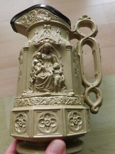 Large Superb Victorian Charles Meigh Minster Pattern Moulded Jug Dated 1854 VGC