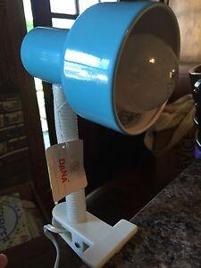 DANA LIGHTING VINTAGE BLUE WHITE GOOSENECK LAMP LIGHT CLAMP DESK Mid Cent NWT