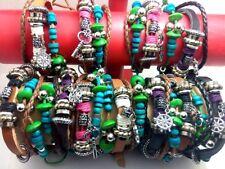 24pcs Vintage Ethnic Leather Alloy Bracelets Men Woman Bohemia Wind Wristbands
