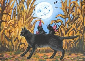 ACEO print of painting RYTA Halloween Black CAT Trick or Treat Haunted maze art