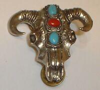 Vintage Western Cowboy Metal Longhorn Steer Bull Skull & Horns Pin / Brooch
