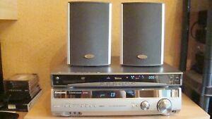 PANASONIC-AV - CONTROL-RECEIVER-SA-XR-55 + TEVION-CD-DVD-PLAYER + 2-SPEAKER