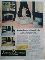 1954 American Standard bathroom design blue tub toilet sink vintage ad