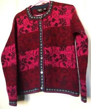 Nordic Design Women's Petite Large Cardigan - Red, Pink Floral -100% Wool