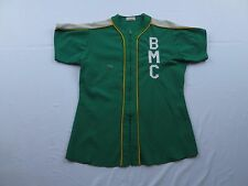 Vtg Mens BMC Alligator Gator Jersey Size Medium Green Baseball Softball USA Made