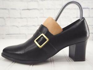 LIFE STRIDE SUSPECT Women's Brown Slip On Block Heel Buckle Pump Shoes 8W / 38.5