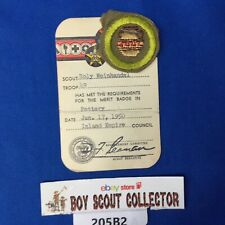 Boy Scout 1950 Pottery Merit Badge On Card
