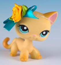 Littlest Pet Shop #339 Brooke Hayes Raceabout Ranch Cat Yellow With Blue Eyes