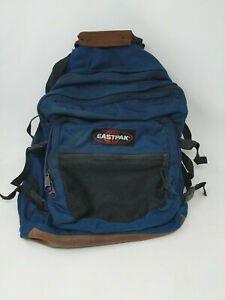 Eastpak Canvas Leather Bottom Adult Backpack Bookbag Made In USA Blue VTG