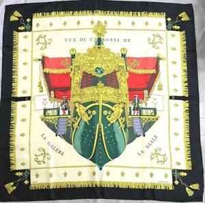 """Auth HERMES Silk Scarf Vue Du Carosse De La Galere Black red Ivory Gold 35""""#2033"""