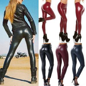 Damen Skinny PU Leder Leggings Fitness Glanz Schlank Wet-Look Hose Optik Leggins