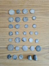 More details for english hammered silver  milled coins and thimbles useful mixed group of finds !