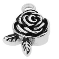 Gothic Rose Flower Pendant Cremation Screw Urn Ash Pendant Stainless Steel