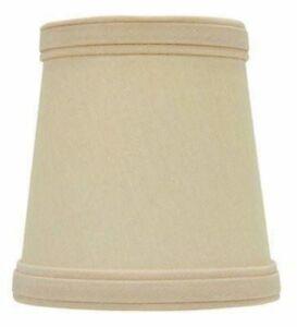 Beige Silk 4 Inch English Barrel Clip On Chandelier Shade