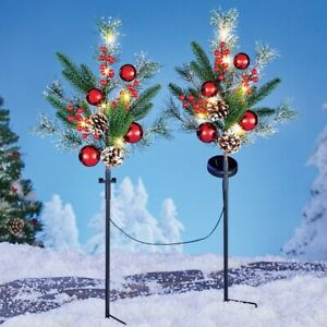 Set of 2 Solar LED Lights Evergreen Branches Outdoor Christmas Lawn Stakes