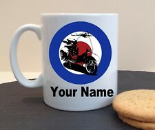 SCOOTER MOD TARGET NAME CLUB PERSONALISED MUG CUP BIRTHDAY FATHERS MOTHERS DAY