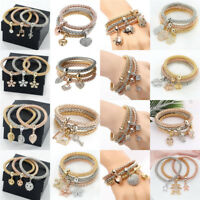 3Pcs Women Elastic Crystal Alloy Plated Bracelets Set Rhinestone Bangle Jewelry
