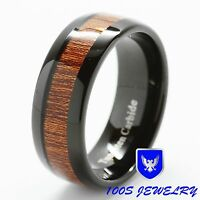 8mm Mens Tungsten Ring Black With Wood Inlay Comfort Fit Wedding Band Size 6-16