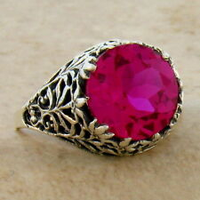 5 CT. LAB RUBY ANTIQUE FILIGREE DESIGN 925 STERLING SILVER RING SIZE 7,     #379