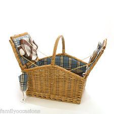 Wicker Picnic Hamper Basket 4 Person Blue Check La Roca