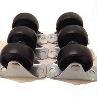 PACK OF 6 - FIXED WHEEL BLACK NYLON CASTORS (40mm x 17mm WHEEL) - 66 x 25 PLATE