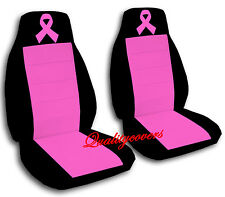 Breast Cancer Ribbon Car Seat Covers in Hot Pink & Black Velour Front Set