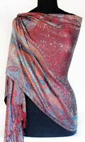 Burgundy & Turquoise, Iridescent Silk, Jamavar Shawl. Reversible, Indian Stole