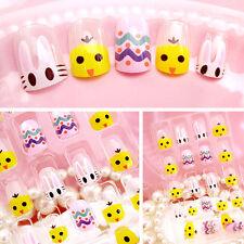 24pcs Cute Little Chicken False Nails French Full Nail Art Fake Fingernail + Box