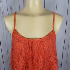 Self Esteem Womens Top Size XL Floral Lace Overlay Cami Tank Top Orange NWT