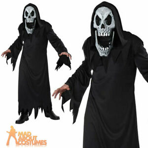 Adult Grim Reaper Elongated Face Costume Halloween Mens Fancy Dress Scary Outfit