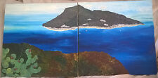 Original hand painted mediterranean island painting mountain prickly pear ocean
